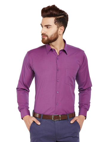 Hancock Mauve Checks Slim Fit Cotton Rich Formal Shirt