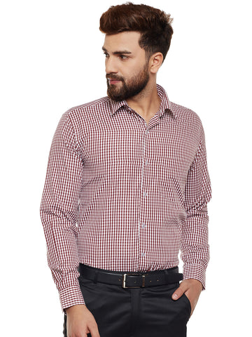 Hancock Maroon Checked Slim Fit Formal Shirt