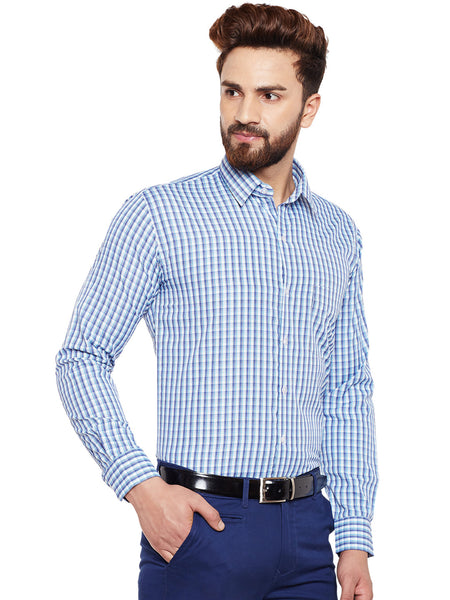 Hancock Blue Checked Slim Fit Formal Shirt