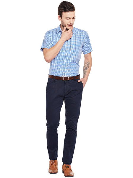 Hancock BlueChecked Slim Fit Formal Shirt