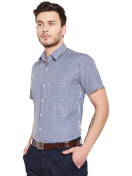 Hancock Navy Checked Slim Fit Formal Shirt