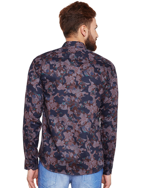 Hancock Grey Camouflage Printed Pure Cotton Slim Fit Casual Shirt