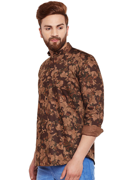 Hancock Olive Camouflage Printed Pure Cotton Slim Fit Casual Shirt