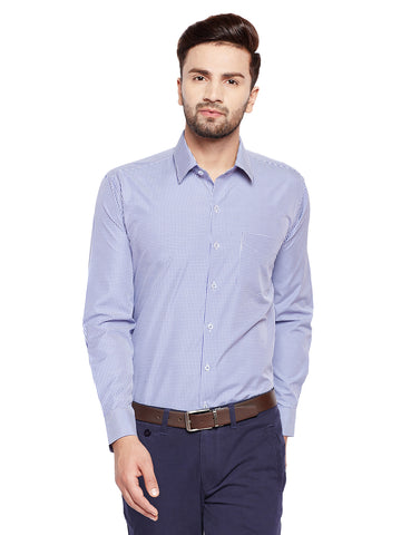 Hancock Blue Checks Slim Fit Cotton Rich Formal Shirt