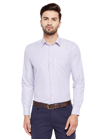 Hancock Purple Checks Slim Fit Cotton Rich Formal Shirt