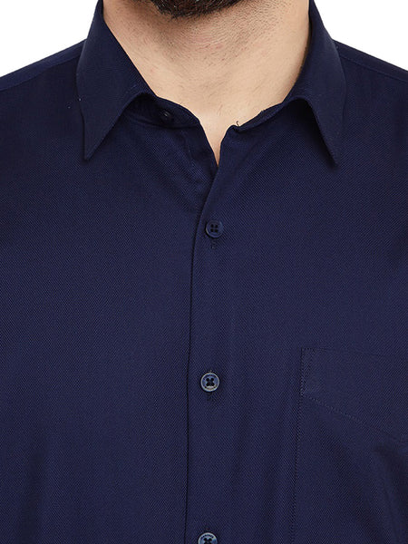Hancock Navy Blue Solid Slim Fit Pure Cotton Formal Shirt