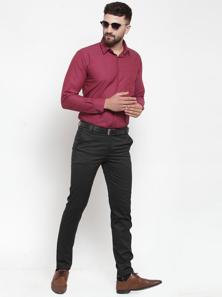 Hancock Men Maroon Pure Cotton Solid Slim Fit Formal Shirt