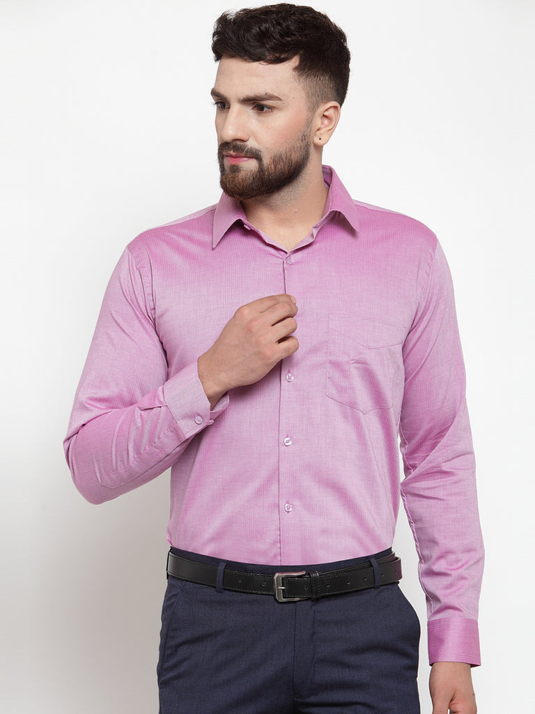 Hancock Men Pink Pure Cotton Solid Slim Fit Formal Shirt