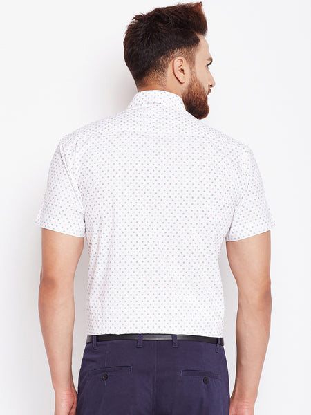 Hancock White Printed Pure Cotton Slim Fit Shirt