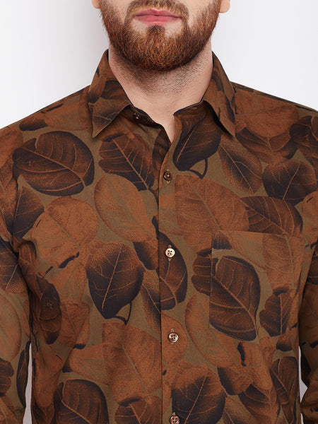 Hancock Brown Printed Pure Cotton Slim Fit Shirt