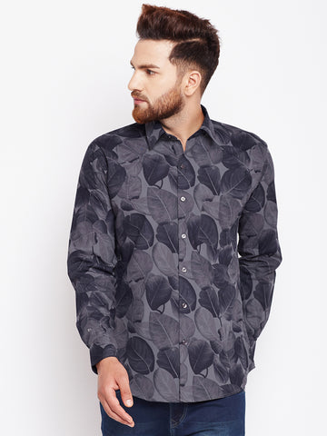 Hancock Grey Printed Pure Cotton Slim Fit Shirt