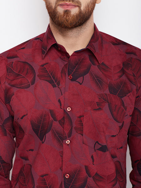 Hancock Maroon Printed Pure Cotton Slim Fit Shirt