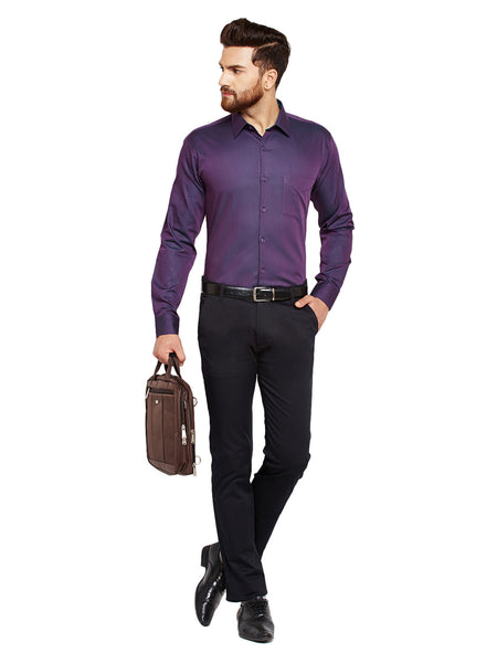 Hancock Wine Solid Slim Fit Pure Cotton Formal Shirt
