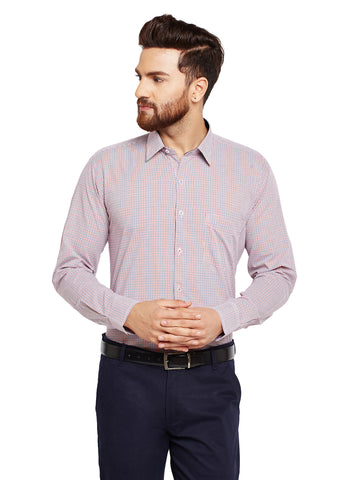 Hancock White Checks Slim Fit Pure Cotton Formal Shirt