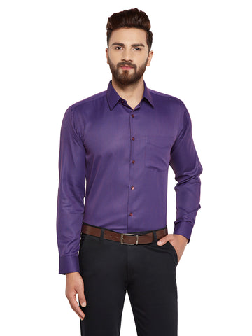 Hancock  Wine Solid Slim Fit Cotton Rich Formal Shirt