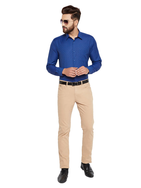 Hancock  Blue Solid Slim Fit Cotton Rich Formal Shirt