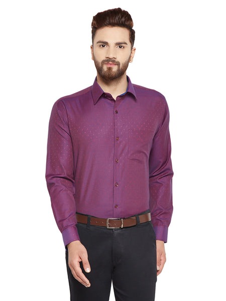 Hancock  Maroon Solid Slim Fit Cotton Rich Formal Shirt