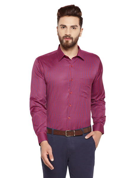Hancock Red Checks Slim Fit Cotton Rich Formal Shirt
