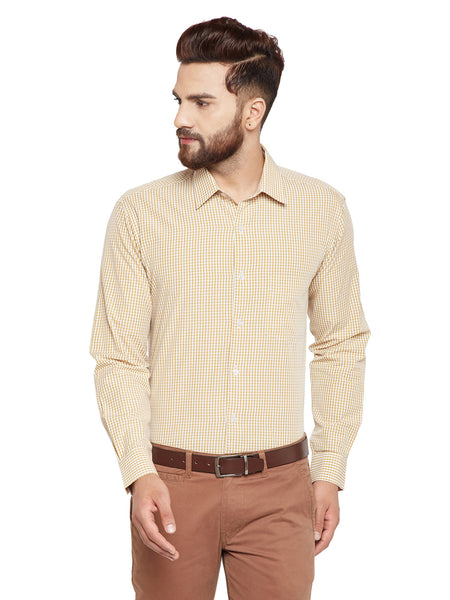 Hancock Yellow Checks Slim Fit Pure Cotton Formal Shirt