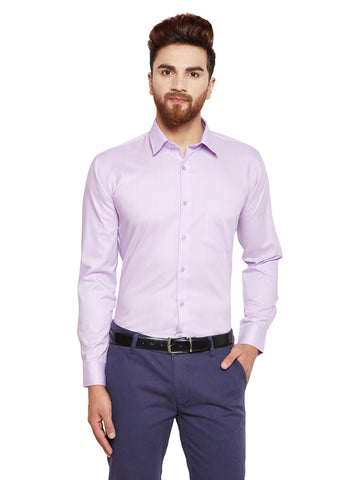 Hancock Purple Solid Slim Fit Pure Cotton Formal Shirt