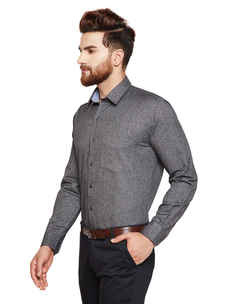 Hancock Grey Solid Slim Fit Pure Cotton Formal Shirt