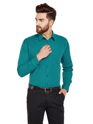 Hancock Green & Black Checks Slim Fit Pure Cotton Formal Shirt