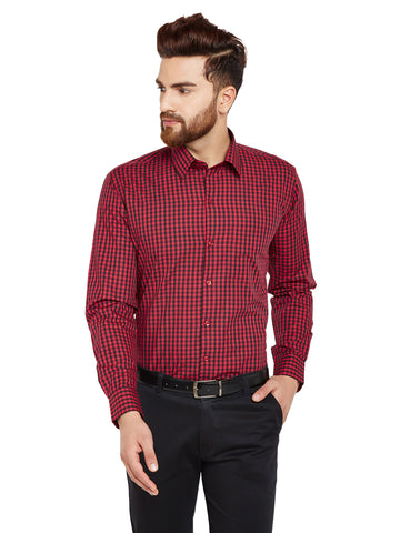Hancock Red & Black Checks Slim Fit Pure Cotton Formal Shirt