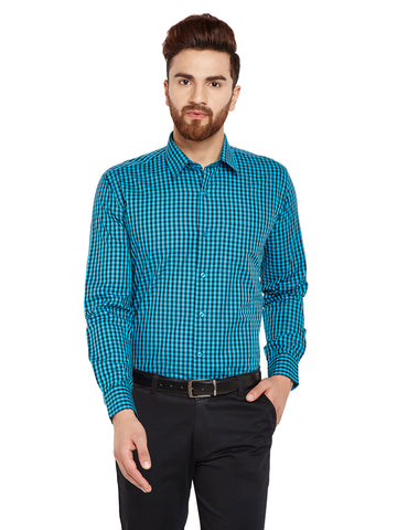 Hancock Turquoise Blue & Black Checks Slim Fit Pure Cotton Formal Shirt