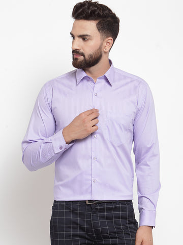 Hancock Men Purple Pure Cotton Striped Slim Fit Formal Shirt