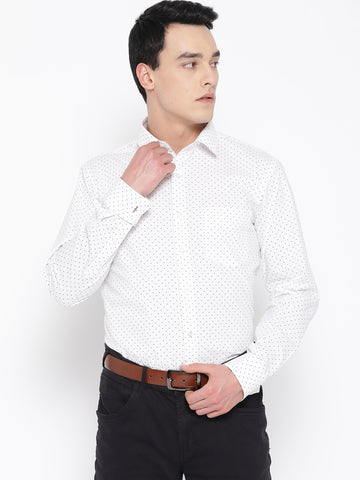 Hancock Men White Pure Cotton Printed Slim Fit Formal Shirt