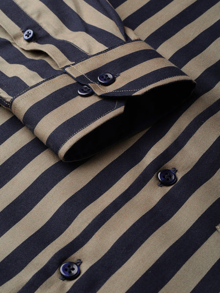 Hancock Men Navy & Olive Pure Cotton Striped Slim Fit Formal Shirt