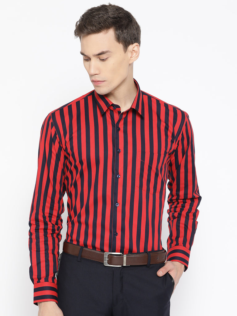 Hancock Men Navy & Red Pure Cotton Striped Slim Fit Formal Shirt