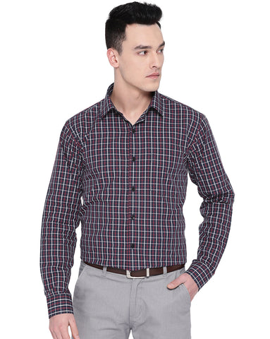 Hancock Men Navy Cotton Checked Slim Fit Formal Shirt