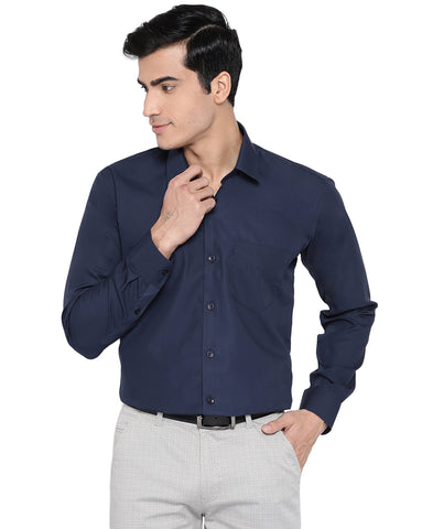 Hancock Men Navy Cotton Solid Slim Fit Formal Shirt