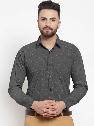 Hancock Men Grey Pure Cotton Printed Slim Fit Formal Shirt