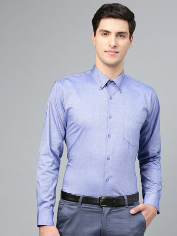 Hancock Men Blue Pure Cotton Solid Button Down Collar Slim Fit Formal Shirt