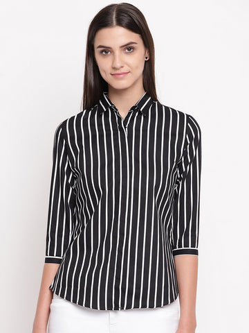 Hancock Women Black Pure Cotton Striped Slim Fit Formal Shirt