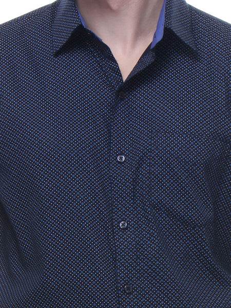 Hancock Navy and Blue Slim Fit Print Pure Cotton Shirt