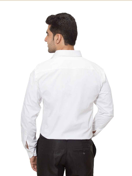 Hancock White Slim Fit Solid Plain Pure Cotton Formal Shirt