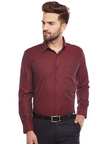Hancock Maroon Slim Fit Solid Structured Slim Fit Formal Shirt