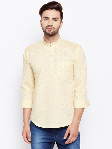 Hancock Yellow Linen Cotton Printed Slim Fit Kurta Shirt