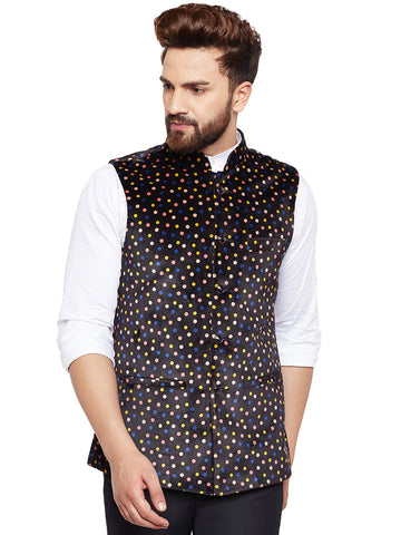 Hancock Black Printed Velvet Slim Fit Party Wear Nehru Jacket