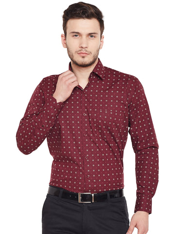 Hancock Maroon Printed Pure Cotton Regular Fit Formal Shirt