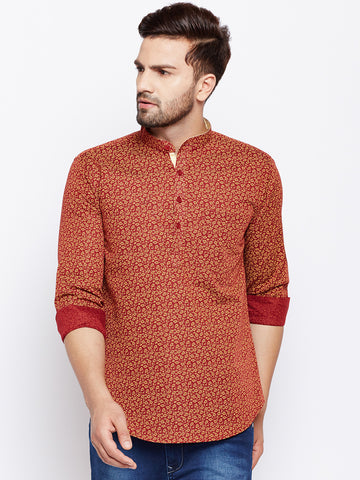 Hancock Red Linen Cotton Printed Slim Fit Kurta Shirt