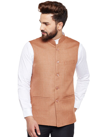 Hancock Brown Solid Slim Fit Formal Nehru Jacket
