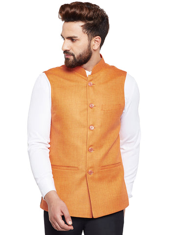 Hancock Orange Solid Slim Fit Formal Nehru Jacket