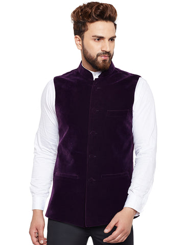 Hancock Wine Solid Velvet Slim Fit Party Wear Nehru Jacket