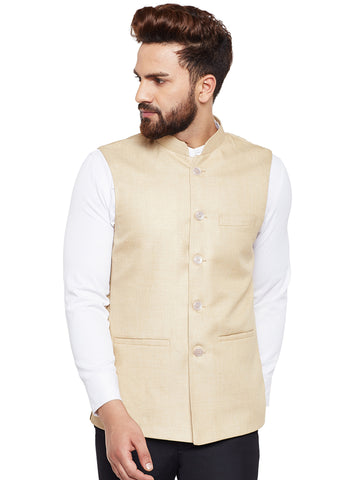 Hancock Beige Solid Slim Fit Formal Nehru Jacket