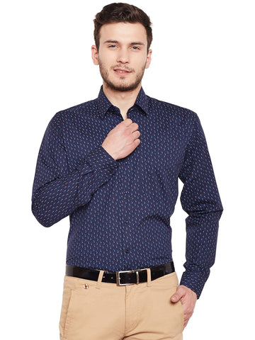 Hancock Navy Printed Pure Cotton Slim Fit Formal Shirt