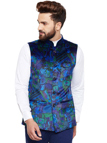 Hancock Blue Printed Velvet Slim Fit Party Wear Nehru Jacket